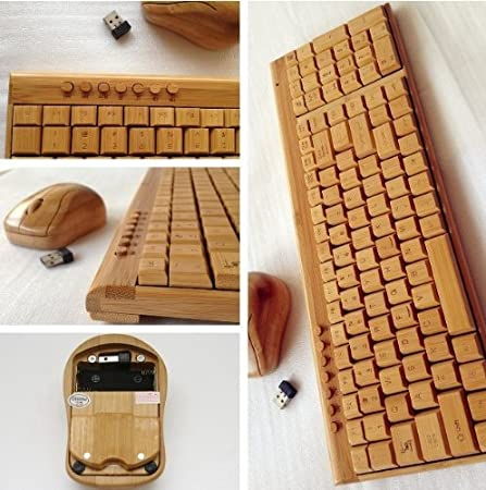 Smart Tech Handcrafted Natural Bamboo Wooden Keyboard and Mouse