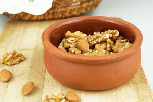 almonds and wallnuts in a bowl