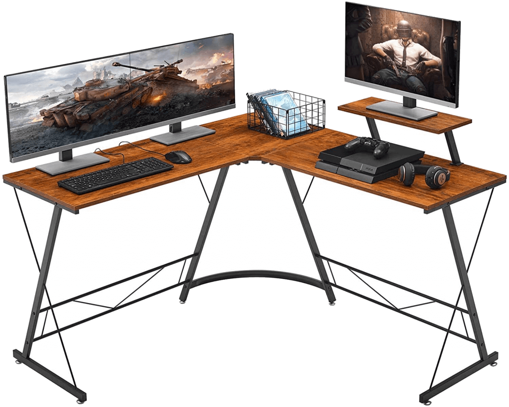 Mr IRONSTONE L-Shaped Dual Monitor Desk