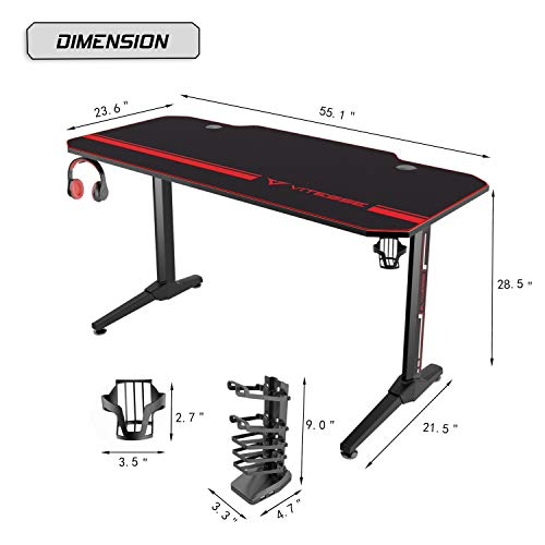 Vitesse 55 inch Gaming Desk Dimensions